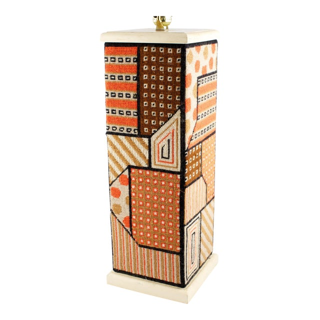 Geometric Needlepoint Table Lamp For Sale