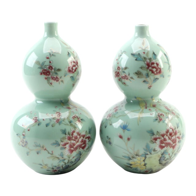 Chinese Celadon Porcelain Double Gourd Vases With Hànzì and Floral Motif - a Pair For Sale