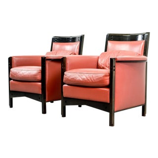 Splendid Pair of Mid-Century Modern Italian Design Lounge Club Chairs by Umberto Asnago for Giorgetti, Italy 1980s