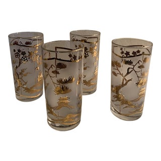 Mid-Century Chinoiserie Gold Detail Glasses - Set of 4 For Sale