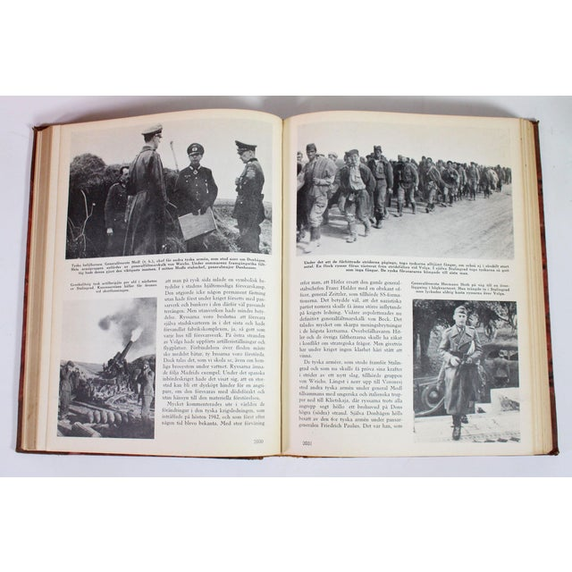 1940s 1942-1945 Vintage World War II Red & Leather Bound Swedish Books - Set of 5 For Sale - Image 5 of 6
