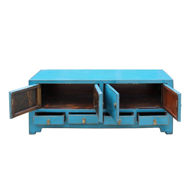 Asian Chinese Distressed Blue Low Tv Console Table Cabinet For Sale - Image 3 of 9