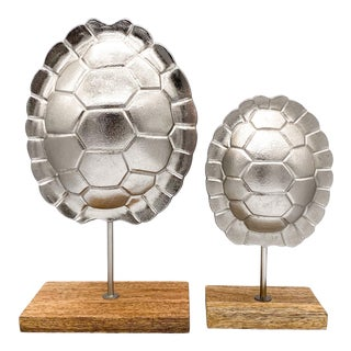 Contemporary Cast Aluminum Turtle Shells on Wood Stands- Set of 2 For Sale