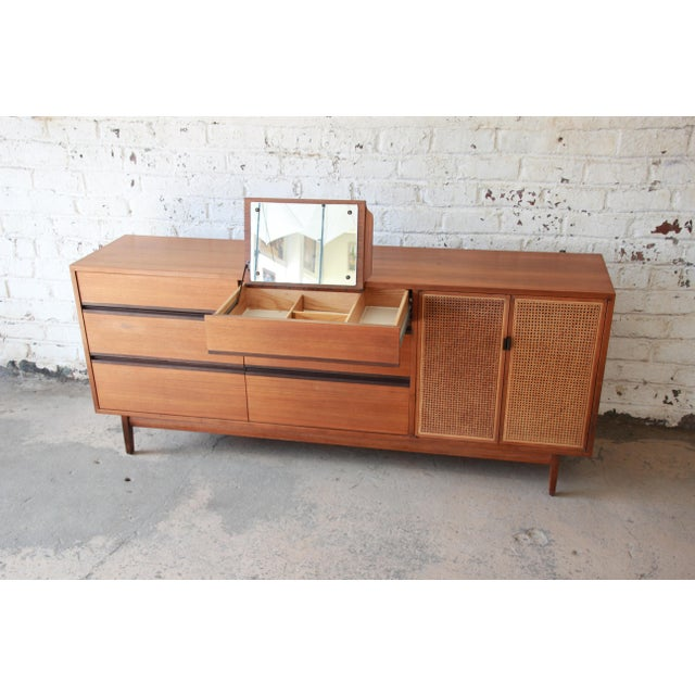 1950s Kipp Stewart for Calvin Mid-Century Modern Walnut and Cane Dresser or Credenza For Sale - Image 5 of 13