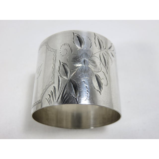 Large Antique Sterling Silver Napkin Rings - A Pair For Sale - Image 4 of 7