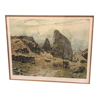 """The Stage Coach"" Southwester Landscape Engraving by Josef Eideberger, Framed For Sale"