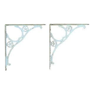 Vintage Metal Shelf Brackets With Horseshoe and Stars - a Pair For Sale