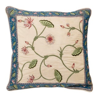 Silk Lotus Garden Embroidered Accent Pillow For Sale