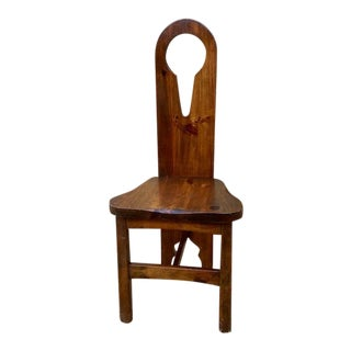 Vintage Style Solid Wood Keyhole Side Chair For Sale