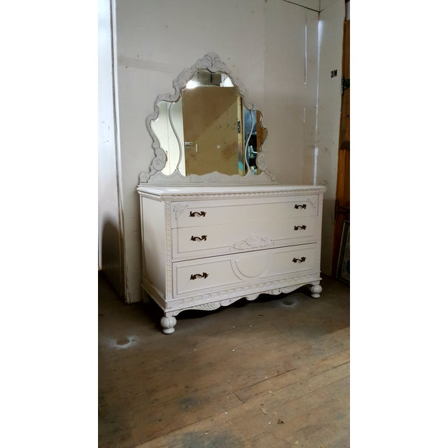 French Provincial White Carved Wood Dresser With Mirror - Image 9 of 9