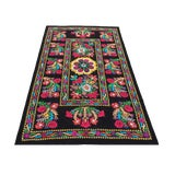 Image of Boho Chic Velvet Embroidery Suzani Fabric With Colorful Floral Patterns For Sale