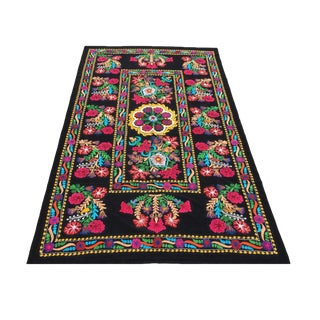 Boho Chic Velvet Embroidery Suzani Fabric With Colorful Floral Patterns For Sale