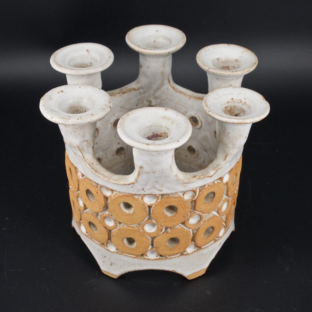 Mid-Century Modern 1960s Stoneware Crown Candelabra by Hal Lasky for Isla Del Sol Pottery For Sale - Image 3 of 8