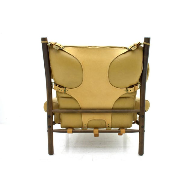 "Mid-Century Modern Arne Norell Lounge Chair ""Inca,"" Leather, Sweden, 1965 For Sale - Image 3 of 6"