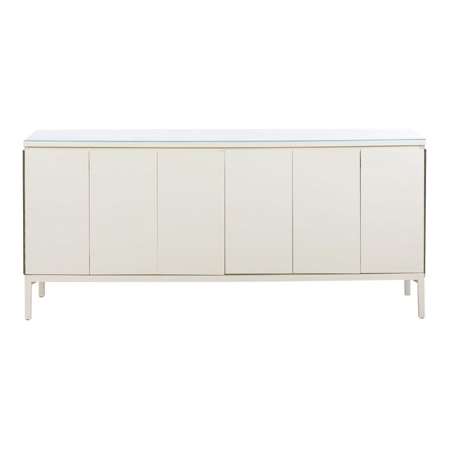 Image of Vintage Modern White Lacquer Cabinet Credenza With Eight Drawers Circa 1980s