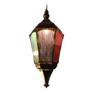 Vintage Moroccon Multi Color Lantern Chandelier - 2 Available For Sale
