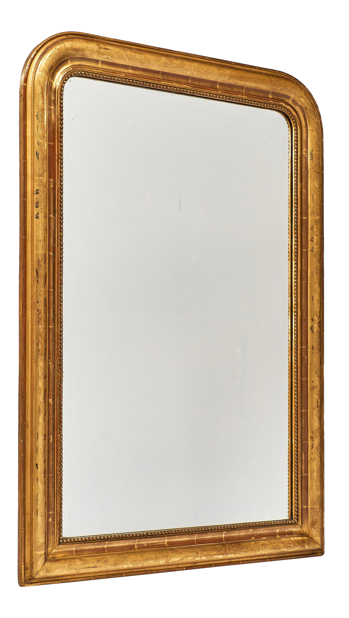 Sophisticated Louis Philippe Period Gold Leaf Mirror Decaso