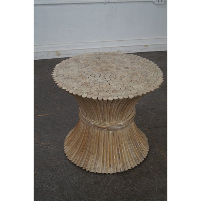 Store Item #: 14872-fwmr McGuire Style Rattan Wheat Sheaf Glass Top Side Table AGE/COUNTRY OF ORIGIN: Approx 30 years,...