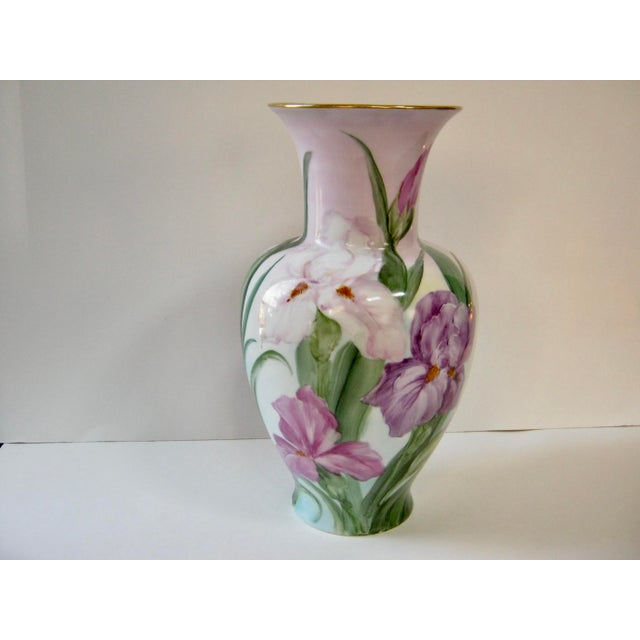 Vintage Early 20th Century German Hand Painted Iris Vase For Sale In Providence - Image 6 of 6