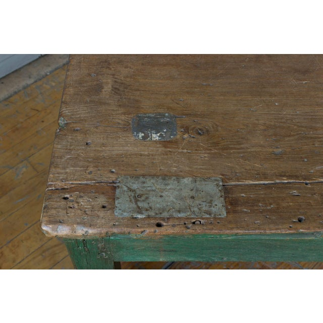 Green Large French Industrial Wooden Table With Green Paint For Sale - Image 8 of 10