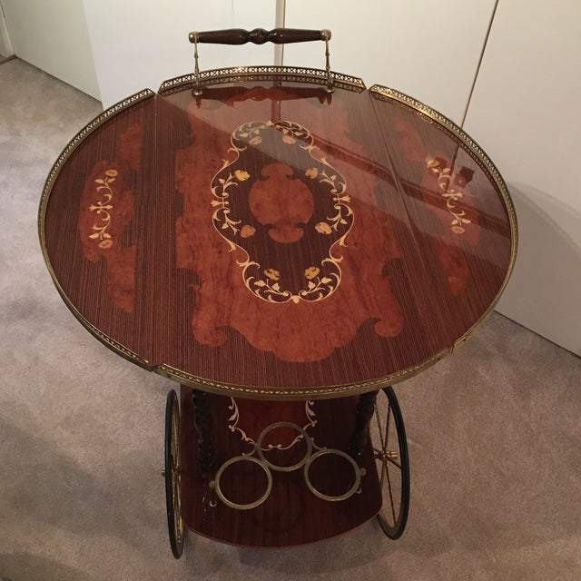 Genuine Italian Marquetry Drop Leaf Beverage Cart - Image 7 of 11