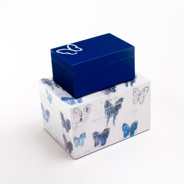 Hunt Slonem's Lacquered Blue Butterfly Box Set For Sale In New York - Image 6 of 6