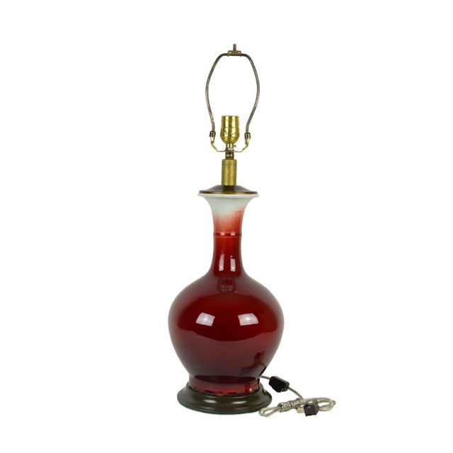 Chinese Blood Red Porcelain Vase Lamp - Image 2 of 4