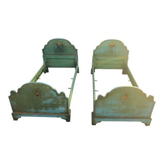 Antique French Hand-Painted Toile Twin Beds - a Pair For Sale