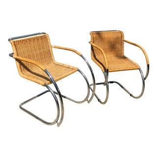 Wicker and Chrome Mies Van Der Rohe Armchairs, a Pair For Sale