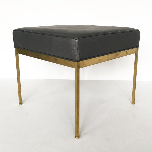 Lawson-Fenning Square Brass & Slate Gray Leather Ottomans - A Pair - Image 5 of 8