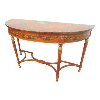 Adams Style Mahogany Paint Decorated Console Table
