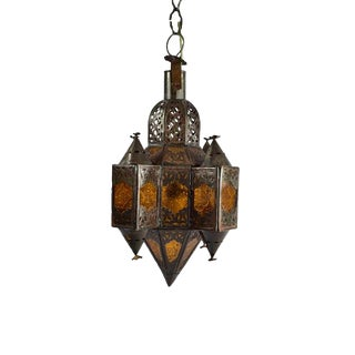 Amber Glass & Metal Moroccan Pendant Lamp