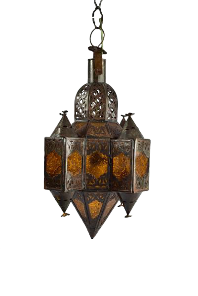 Amber Glass U0026 Metal Moroccan Pendant Lamp