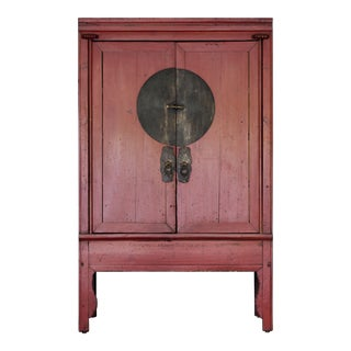 1920s Chinese Red Wedding Cabinet For Sale