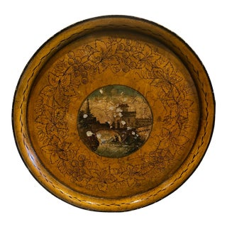 20th Century Cottage Hand Painted Tole Tray For Sale