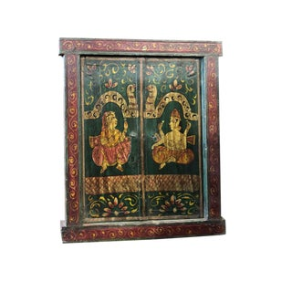 1900s Antique Jharokha Teak Window Rustic Indian Art Wall Sculpture Wall Hanging For Sale