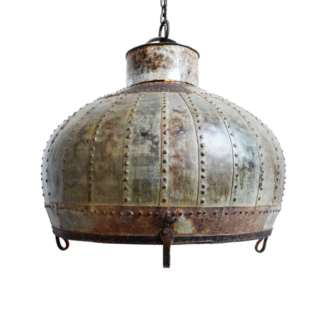 Industrial Rivet Iron Lantern For Sale In Los Angeles - Image 6 of 6