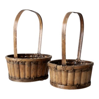 Vintage Bamboo Handle Baskets - A Pair