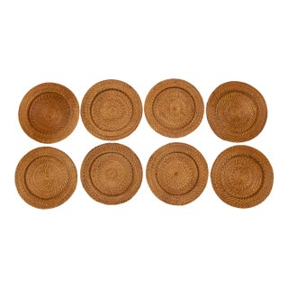 Rattan Coiled Charger Plates, Set of 8
