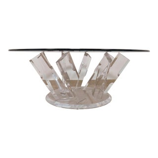 C. 1980s Lucite Pinwheel Form Coffee Table For Sale