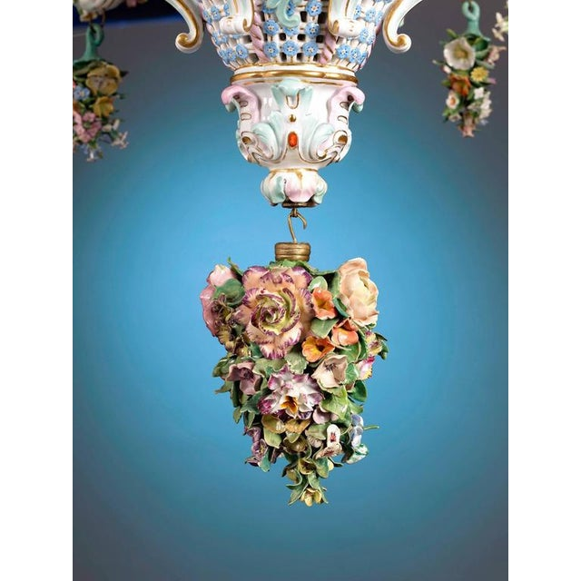 Rococo Meissen Porcelain Six-Light Rococo Style Chandelier For Sale - Image 3 of 5