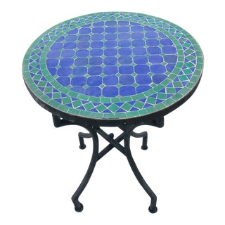 Moroccan Blue/Green Mosaic Dining Table For Sale