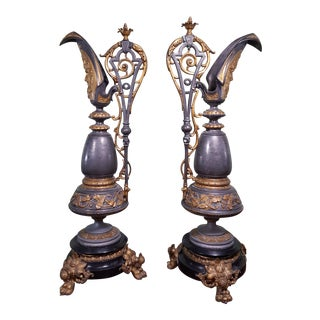 Mid-Century Art Nouveau Decorative Filigree Andirons - a Pair For Sale