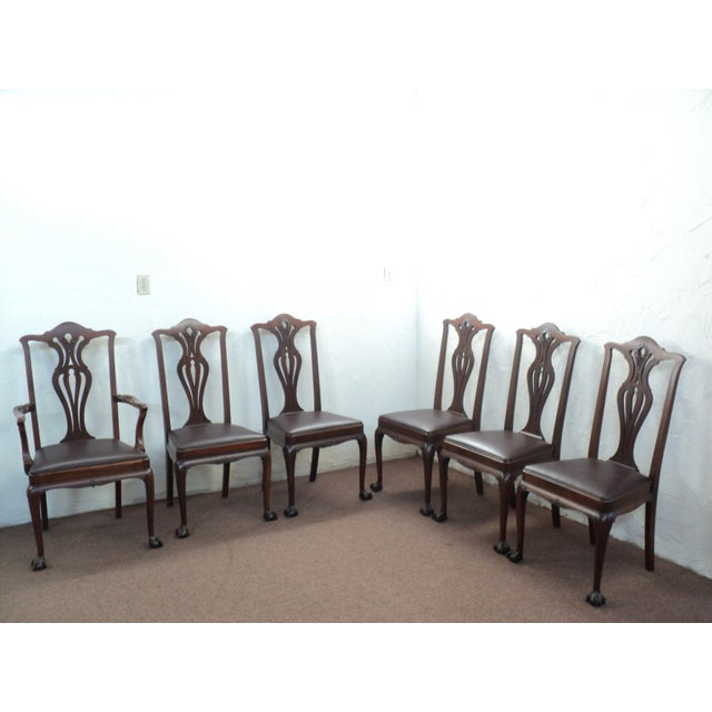 "Chippendale Antique Walnut ""Chippendale Style"" Round Table & 6 Chairs For Sale - Image 3 of 11"