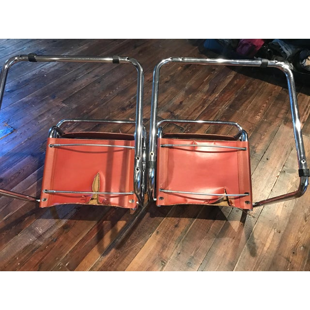 Mart Stam Thonet S34 Tubular Cantilever Chrome and Leather Chairs - a Pair - Image 3 of 5