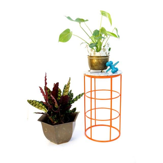 Carrara Marble & Orange Metal Fern Stand Pedestal Table - Image 10 of 11