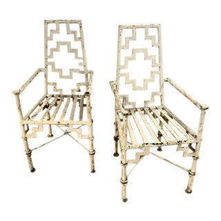 Art Deco Iron Patio Chairs - a Pair For Sale