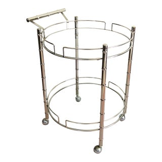 Vintage Chrome Faux Bamboo Circular Bar Cart For Sale