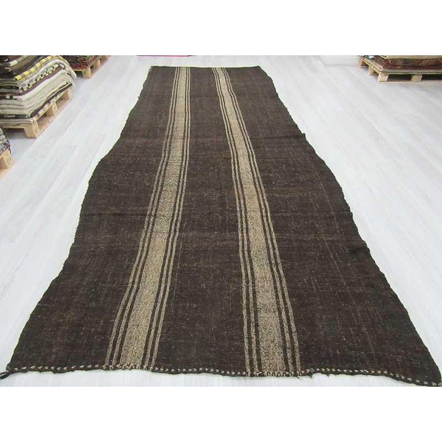 Boho Chic Vintage Striped Grey Turkish Kilim Rug - 5′11″ × 14′3″ For Sale - Image 3 of 6