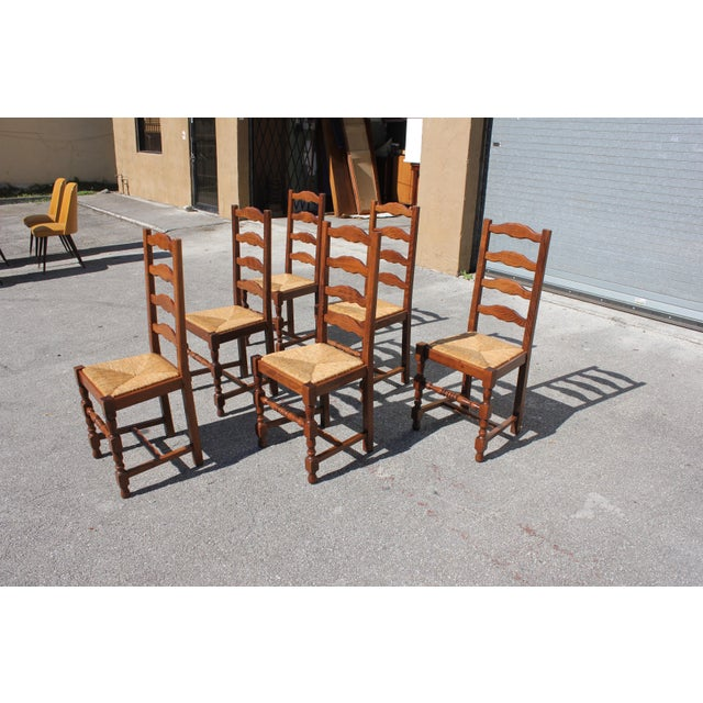 1910s 1910s Vintage French Country Rush Seat Solid Walnut Dining Chairs- Set of 6 For Sale - Image 5 of 13